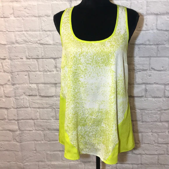 Black Rainn lime green python print tank
